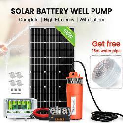 100W Solar Panel & Deep Well Submersible Water Pump Kits & 6AH LiFePO4 Battery