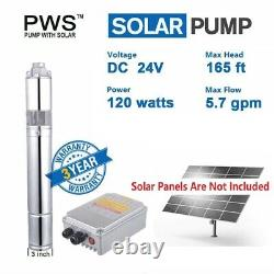120W DC24V Solar Water Pump 3/4 Stainless Steel Submersible Deep Well Pump