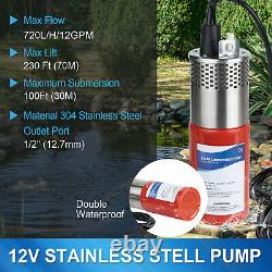 12V/24V Solar/Battery Stainless Deep Well Water Pump Submersible Irrigation
