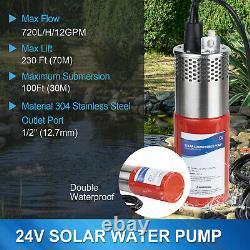 12V/24V Solar Water Pump Deep Well Kit Solar Panel f Garden/Irrigation/Watering