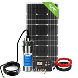 12V Solar Submersible Deep Well Water Pump 100W Solar Panel Pond Farm Home