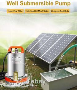 12V Solar Water Pump Pond Submersible Deep Well Kit & Solar Panel Irrigation