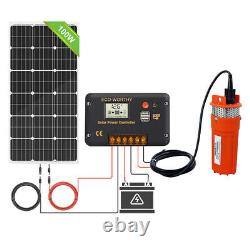 12V Submersible Solar Well Water Pump Kits & 16.5ft Extention Cables&Solar Panel