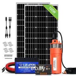 200W Mono Solar Panel+12V Deep Well S/Steel Submersible Water Pump +Battery