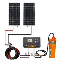 200W Solar Panel Well Water Pump Irrigation System Kit & 10m Cables & 4Z Bracket