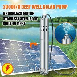 24V 2000L/H Solar Powered Water Pump Farm&Ranch Submersible Bore Hole Deep Well