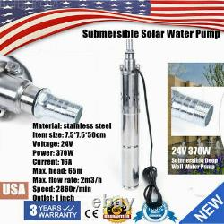 24V 370W Solar Water Pump Deep Well Solar Submersible Pump head 65m stainless US