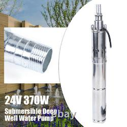 24V 370W Solar Water Pump Deep Well Submersible Pump Farm Garden Stainless Steel