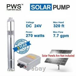 24V 3/4 Solar Water Powered Pump 270W Submersible Deep Well JS3-1.8-100