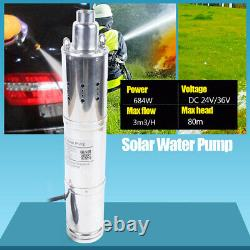 24V 80m /120m Head Solar Powered Submersible Bore Hole Deep Well Water Pump fast