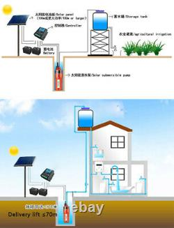 24V DC 70m Lift Solar Submersible Water Pump For Household, Farm Irrigation