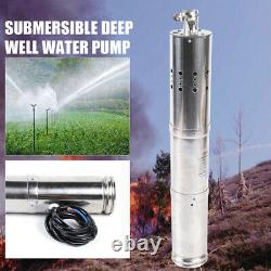 24V Submersible Deep Solar Well Water Pump Watering Irrigation Farm & Ranch DHL