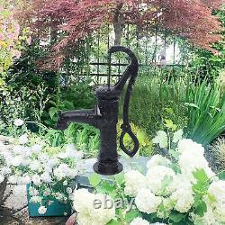 26 feet Manual Hand Water Pump Garden Boost Pump Cast Iron Well Fountain Stand