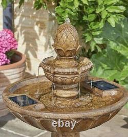 2 Tiered Solar Cascading Water Feature Garden Patio Fountain Outdoor Decor