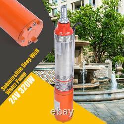 320W DC24V Solar Water Pump 5m³/h Farm Ranch Submersible Bore Hole Deep Well UPS