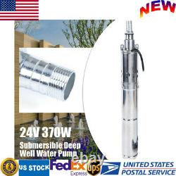 370W 24V DC Solar Water Pump Deep Well Submersible Pump Stainless Steel 65m Head