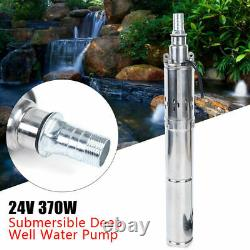 370W DC 24V Solar Power Submersible Water Pump Deep Well Pump for Farm/Ranch US