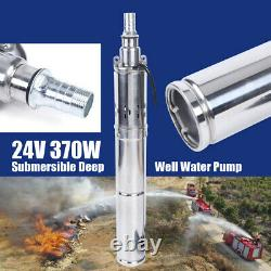 370W S/ Steel Solar Water Brushless Pump Submersible Deep Pump DC 24V 2M³/H 65m