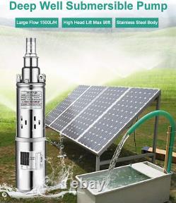 3 24V Solar Power Water Pump Farm Ranch Submersible Bore Hole Deep Well DC