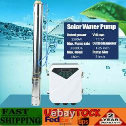 3 2HP DC Solar Deep Bore Well Submersible Water Pump + MPPT Controller 1500W DC