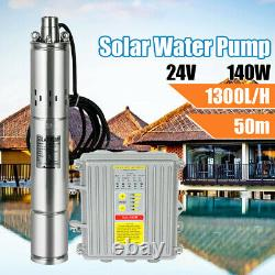 3/4'' Solar Power Water Pump Farm Submersible Bore Hole Deep Well 24V+Controller