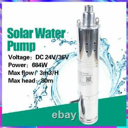 3.5 DC 24V Solar Water Pump Farm Ranch Submersible Borehole Deep Well 3m³/h 80m