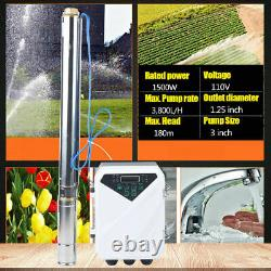 3 DC 1500W Deep Bore Well Solar Water Pump 110V 2HP Submersible MPPT Controller