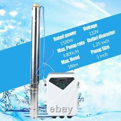 3 DC 2HP Solar Water Pump 1500W Submersible MPPT Controller Deep Bore Well 180m