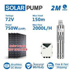 3 DC Screw Solar Water Pump 72V 750W Submersible Well Garden Irrigation System