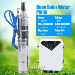 3 DC Solar Water Pump 48V 500W Submersible Well Pump Garden Irrigation 1700L/H