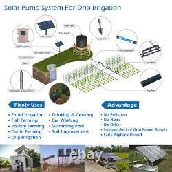 3 DC Solar Water Pump Submersible Deep Bore Well 16.7GPM 590FT Plastic Impeller