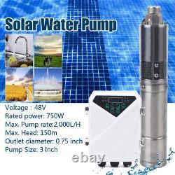 3 DC Submersible Solar Water Pump 48V 750W Deep Well Water Pump+MPPT Controller