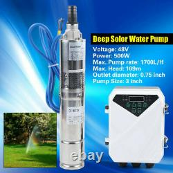3 Solar Submersible Bore Hole Deep Well Water Pump MPPT controller KIT 500W US