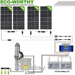 3 Solar Water Pump System Deep Well Submersible Kit & Battery MPPT Controller