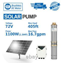 3 Solar Well Pump Submersible DC Water Pump 72V 1100W Bore Hole MPPT Controller