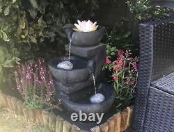 3 Tier Stone Effect Solar Powered LED Fountain Outdoor Garden Water Feature 61cm