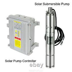 400W DC 36V Solar Water Pump 3/4 Submersible Deep Well Pump MPPT Controller 80m