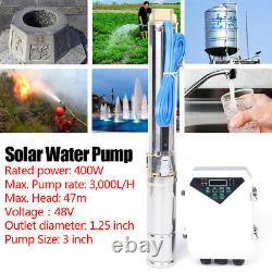 400W DC 48V 3 Deep Bore Well Solar Water Pump 0.5HP Submersible Bore Pump USA