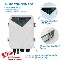 4 750W 1HP Solar Submersible Bore Pump MPPT Controller Water Supply 6T/H 56m
