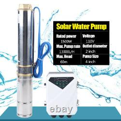 4 DC Deep Well Solar Water Pump 110V 1.5KW Submersible MPPT Controller Kit Bore