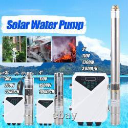 4 DC Deep Well Solar Water Pump 1500W Submersible MPPT Controller Kit Bore USA