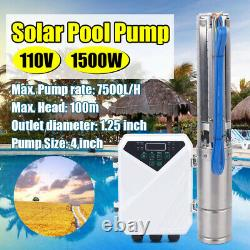 4 DC MPPT Controller Kit Deep Well Solar Water Pump Submersible 110V 1500W 2HP