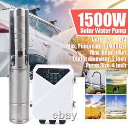 4 DC Solar Water Pump 110V 1500W Submersible MPPT Controller Kit Deep Bore Well