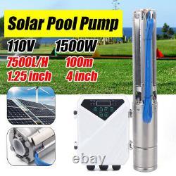 4 DC Solar Water Pump 750/1500W Submersible +MPPT Controller Deep Bore Well