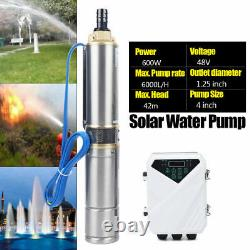 4 DC Submersible Deep Bore Well Solar Water Pump DC48V 600W Irrigation MPPT KIT