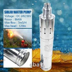 864W 3m3/h Solar Submersible Deep Well Water Pump Well Garden Irrigation 120m US