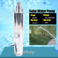864W Solar Powered Water Pump Deep Well Submersible Pump MPPT Control 80m/120m