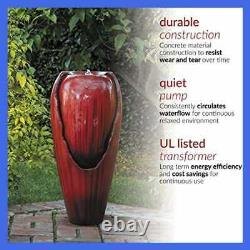 Alpine Corporation DIG100XS RD Jar Water Fountain Outdoor Waterfall For Garden P