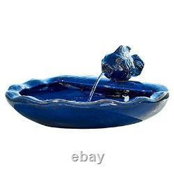 Blue Ceramic Koi Fish Fountain Water Pump Filter Solar Power 1.5Gal Bird Bath