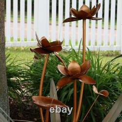 Copper Flower Blossoms Outdoor Fountain Tabletop Sculptural Garden Water Feature